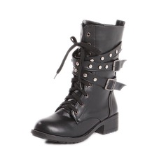 Women's Leatherette Chunky Heel Closed Toe Ankle Boots shoes