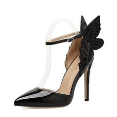 女性用 レザーレット スチレットヒール パンプス クローズド足 とともに ちょう結び 靴