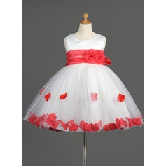 Empire Knee-length Flower Girl Dress - Organza/Satin/Tulle Sleeveless Scoop Neck With Sash/Flower(s)/Bow(s)