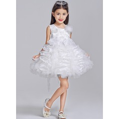 Ball Gown Short/Mini Flower Girl Dress - Tulle Sleeveless Scoop Neck With Appliques/Flower(s)