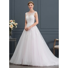 Ball-Gown/Princess Scoop Neck Court Train Tulle Wedding Dress With Beading Sequins