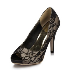 Women's Lace Stiletto Heel Peep Toe Sandals