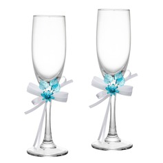 Floral Theme Toasting Flutes (Set Of 2)