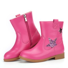 Girl's Round Toe Closed Toe Mid-Calf Boots Microfiber Leather Low Heel Boots Flower Girl Shoes With Zipper