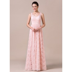 A-Line/Princess V-neck Floor-Length Lace Bridesmaid Dress With Ruffle