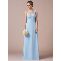 Empire One-Shoulder Floor-Length Chiffon Bridesmaid Dress With Ruffle