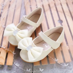 Girl's Round Toe Microfiber Leather Flat Heel Flats Flower Girl Shoes With Bowknot Velcro