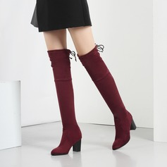 Women's Suede Chunky Heel Pumps Boots Over The Knee Boots With Bowknot shoes