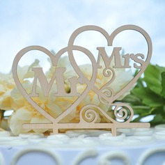 Double Hearts/Mr. & Mrs. Wood Cake Topper