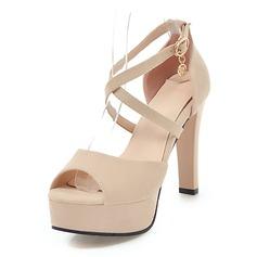 Vrouwen Suede Stiletto Heel Sandalen Pumps Plateau Peep Toe met Gesp schoenen