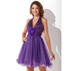 A-Line/Princess Halter Short/Mini Tulle Homecoming Dress With Ruffle Beading Flower(s)