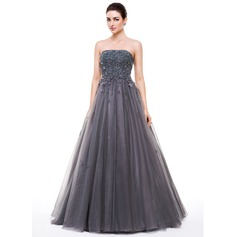 Ball-Gown Strapless Floor-Length Tulle Prom Dress With Beading Appliques Lace Flower(s) Sequins (018056632)