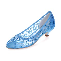 Women's Lace Kitten Heel Peep Toe Sandals With Sequin