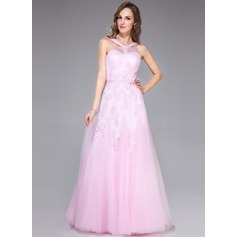 Trumpet/Mermaid V-neck Floor-Length Tulle Prom Dress With Ruffle Appliques Lace Bow(s)
