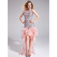 Sheath/Column Scoop Neck Asymmetrical Organza Prom Dress With Beading Cascading Ruffles