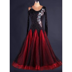 Women's Dancewear Polyester Organza Latin Dance Dresses