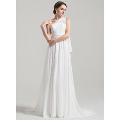 A-Line/Princess One-Shoulder Court Train Chiffon Wedding Dress With Ruffle Beading Appliques Lace Sequins