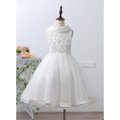 A-Line/Princess Knee-length Flower Girl Dress - Organza Sleeveless Stand Collar With Beading/Appliques/Bow(s)