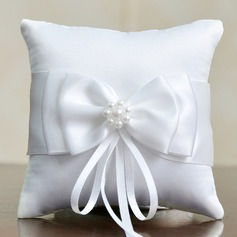 "Delicate Allure Ring Pillow in Satin With Bow (	4""x4"" (10*10cm) )"