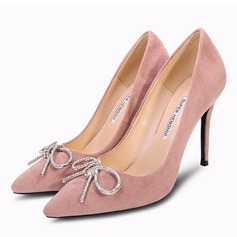 Vrouwen Suede Stiletto Heel Closed Toe Pumps met strik