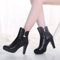 Women's Leatherette Chunky Heel Boots With Rhinestone Zipper shoes