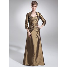 A-Line/Princess Sweetheart Floor-Length Taffeta Mother of the Bride Dress With Ruffle Beading