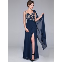 Sheath/Column Sweetheart Floor-Length Chiffon Lace Mother of the Bride Dress With Beading Split Front