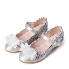 Girl's Closed Toe Leatherette Low Heel Pumps Flower Girl Shoes With Beading Rhinestone Sequin Velcro Flower