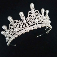 Ladies Eye-catching Alloy Tiaras With Venetian Pearl (Sold in single piece)