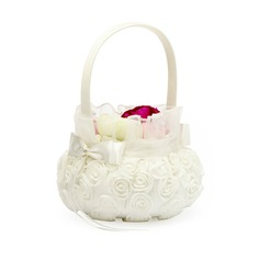 Satin With Bow Flower Basket (198076176)