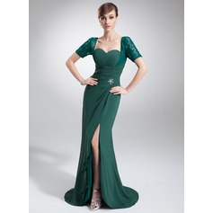 Trumpet/Mermaid Sweetheart Asymmetrical Chiffon Lace Mother of the Bride Dress With Ruffle Beading Split Front
