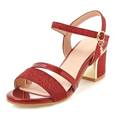 Mulheres Couro Salto robusto Sandálias Peep toe Sapatos abertos sapatos
