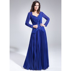 A-Line/Princess Sweetheart Floor-Length Chiffon Mother of the Bride Dress With Ruffle Beading