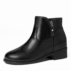 Vrouwen Kunstleer Chunky Heel Laarzen Enkel Laarzen met Rits schoenen
