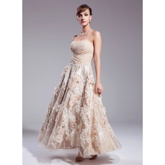 A-Line/Princess Sweetheart Ankle-Length Chiffon Wedding Dress With Ruffle Appliques Lace Flower(s) Sequins