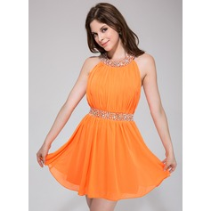 A-Line/Princess Scoop Neck Short/Mini Chiffon Homecoming Dress With Ruffle Beading