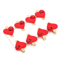 Heart Shaped Wooden Clips