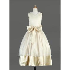 Ball Gown Tea-length Flower Girl Dress - Organza/Charmeuse Sleeveless V-neck With Sash/Bow(s)