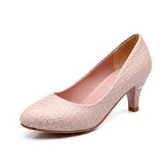 Leatherette Kitten Heel Pumps Closed Toe With Sequin shoes