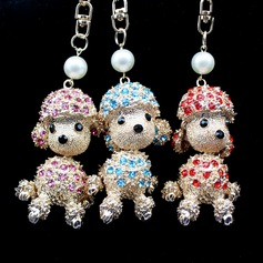 Classic Lovely Poodle Design Crystal/Chrome Keychains