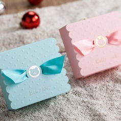 Baby Boy/Girl Cuboid Favor Boxes With Ribbons (Set of 12)