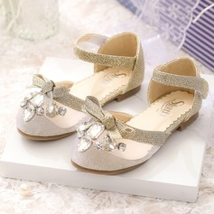 Girl's Closed Toe Mesh Flat Heel Flower Girl Shoes With Bowknot Rhinestone