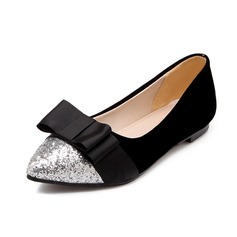 Women's Suede Sparkling Glitter Flat Heel Flats Closed Toe With Bowknot shoes