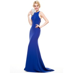 Trumpet/Mermaid Scoop Neck Sweep Train Satin Evening Dress With Appliques Lace