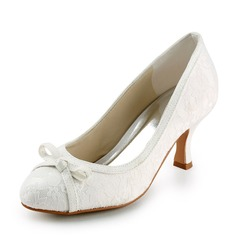 Women's Lace Satin Spool Heel Closed Toe Pumps With Bowknot Sparkling Glitter