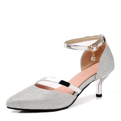 Women's Leatherette Stiletto Heel Pumps Closed Toe Mary Jane With Rhinestone Buckle Others shoes