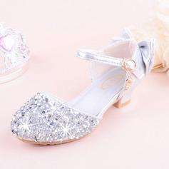 Girl's Round Toe Closed Toe Leatherette Sparkling Glitter Low Heel Flats Flower Girl Shoes With Bowknot