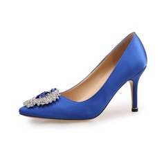Women's Satin Pumps Closed Toe With Rhinestone shoes (085094481)