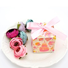 Lovely Cuboid Card Paper Favor Boxes With Ribbons