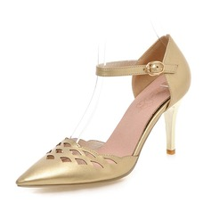 Women's Leatherette Stiletto Heel Pumps Closed Toe With Hollow-out shoes (085087801)